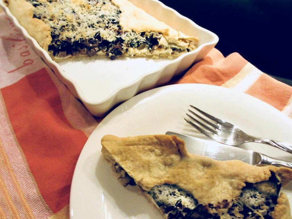 Hartig taartje met ricotta en paddenstoelen